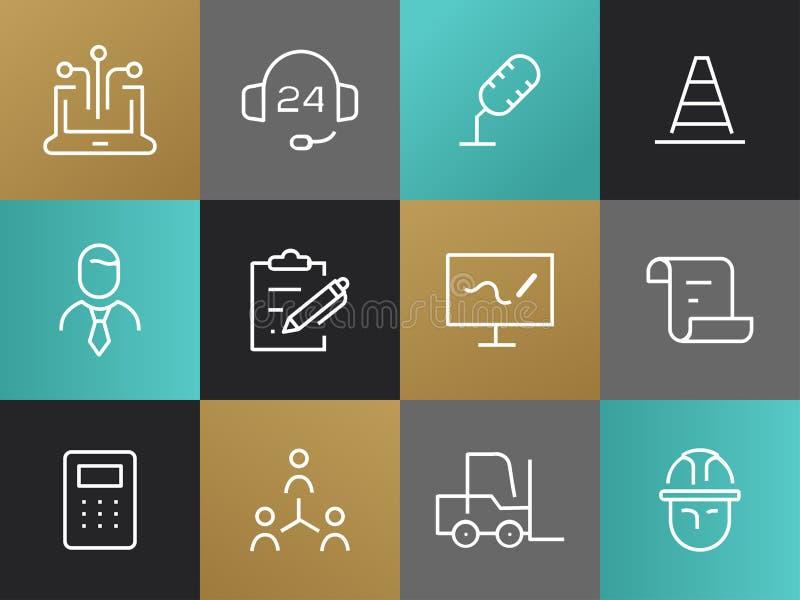 Enige Lijn Bedrijfs Geplaatste Pictogrammen vector illustratie