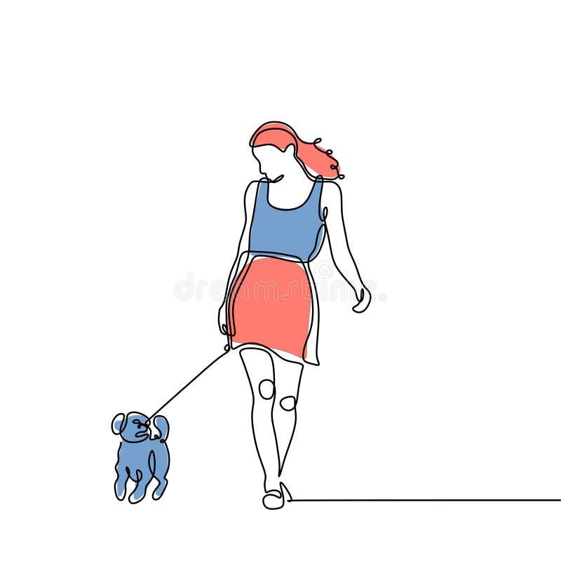 Enige lijntekening van een meisje die met een hond ononderbroken lopen hand getrokken minimalism royalty-vrije illustratie