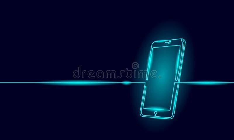 Enige ononderbroken smartphone van de lijnkunst Mobiel het schermgadget van de telefoonaanraking modern technologieneon blauw glo vector illustratie
