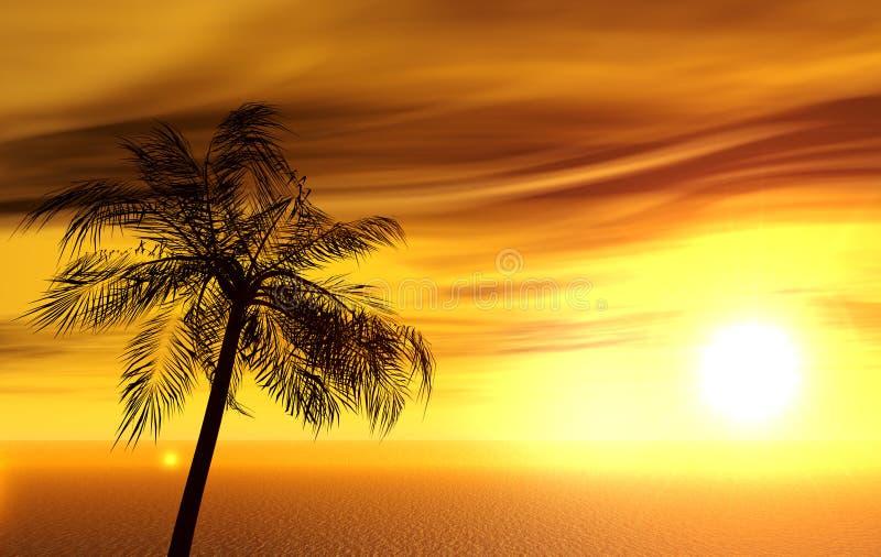 Enige palm royalty-vrije illustratie