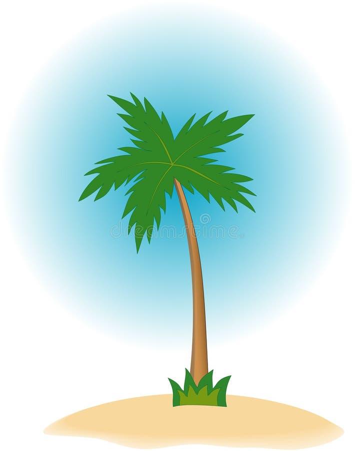 Enige palm op tropisch eiland vector illustratie