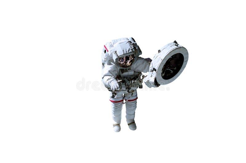 Enige ruimteastronaut in wit kostuum met rode lijnen stock foto