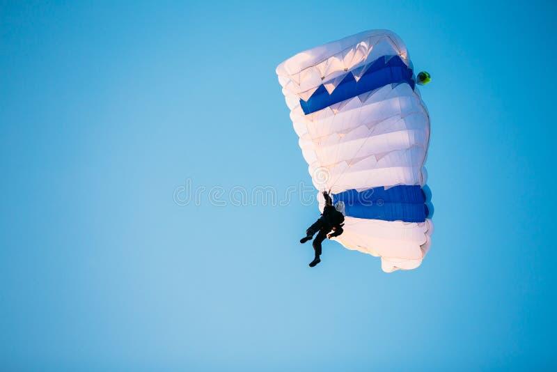 Enige Skydiver op Valscherm in Blauwe Duidelijke Hemel Actieve levensstijl stock foto's