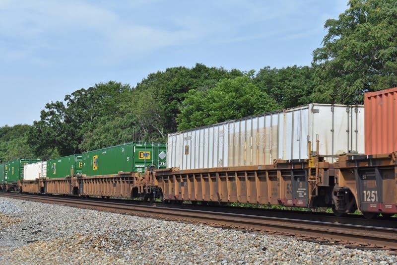 Enige stapel intermodal goederentrein dichtbij Sc van Greenville royalty-vrije stock afbeeldingen