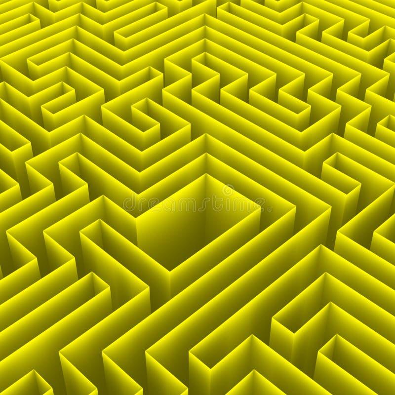 Enigma 3D do labirinto com câmara center ilustração stock