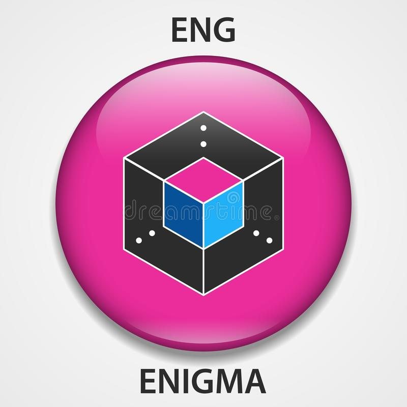 Enigma Coin cryptocurrency blockchain icon. Virtual electronic, internet money or cryptocoin symbol, logo.  stock illustration