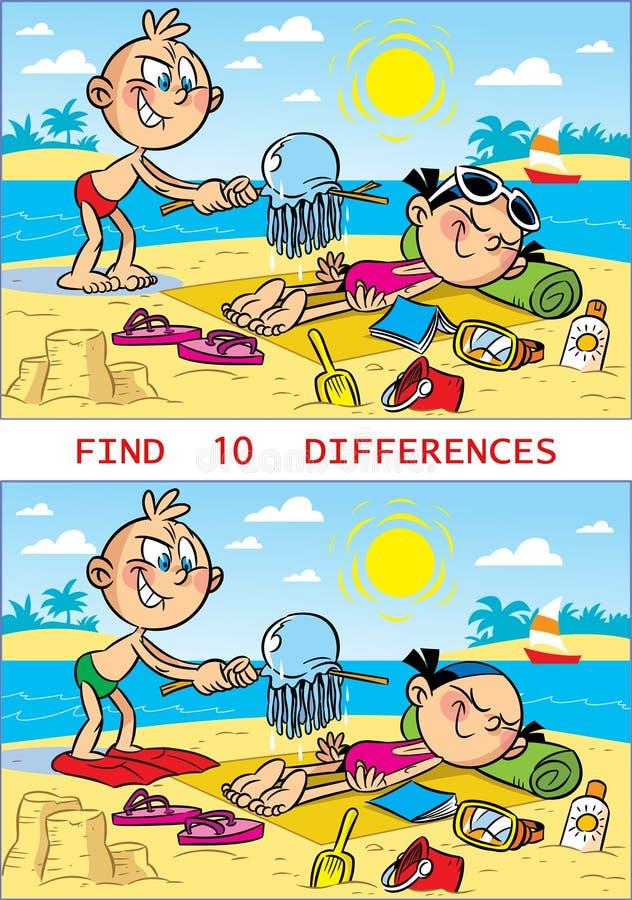 Enigma com as crianças na praia ilustração stock