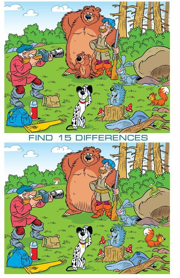 Enigma com caçadores e animais da foto ilustração royalty free