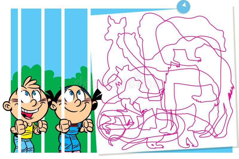 Enigma com crianças em um jardim zoológico ilustração royalty free
