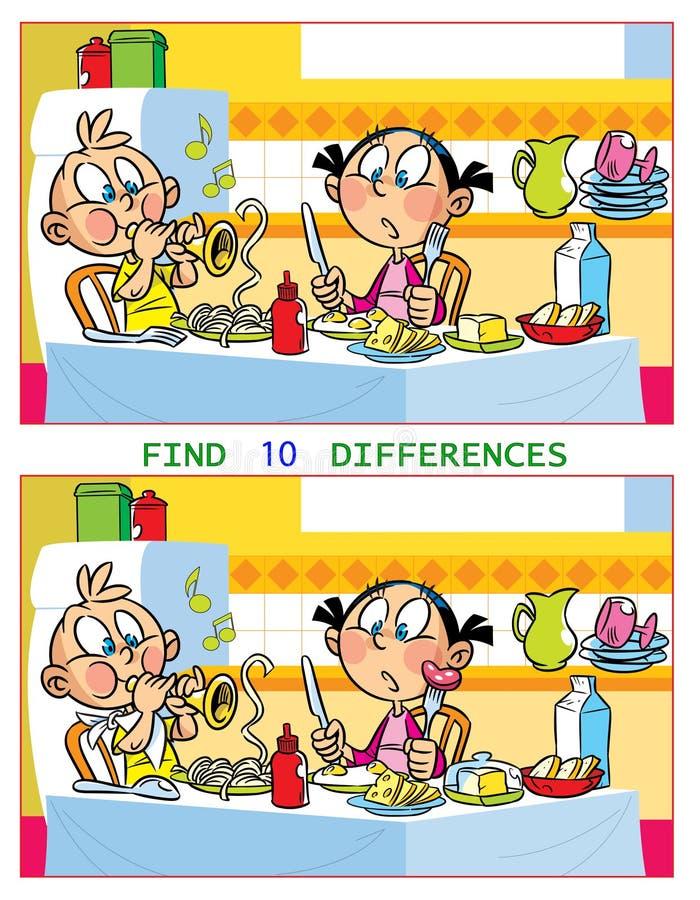 Enigma com crianças que jogam na tabela ilustração stock