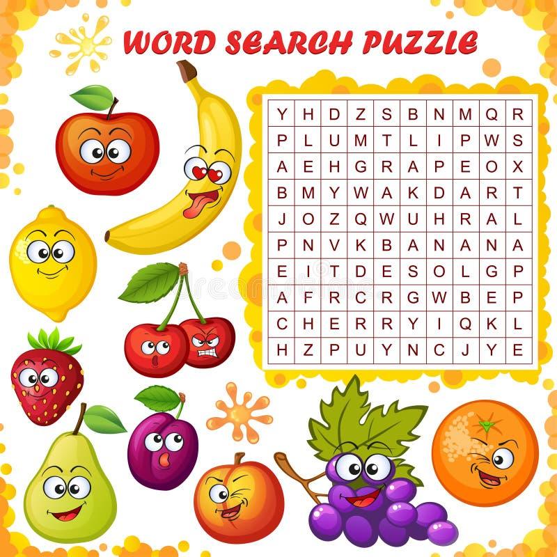 Enigma da busca da palavra Jogo da educação do vetor para crianças Os desenhos animados frutificam emoticons ilustração royalty free