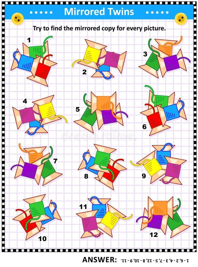 Enigma da imagem com imagens espelhadas de costurar carretéis ilustração do vetor