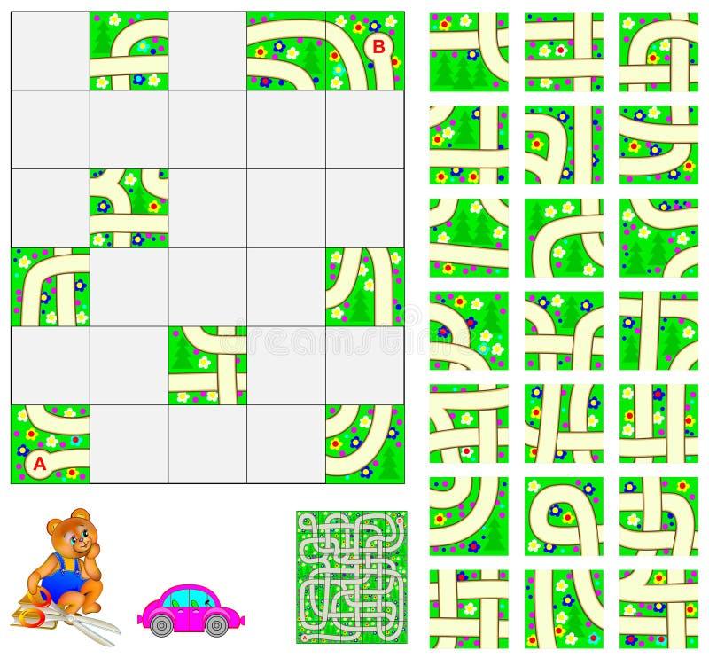 Enigma da lógica com labirinto Corte os quadrados e coloque-os corretamente Precise de passar completamente pelo carro do ponto A ilustração do vetor