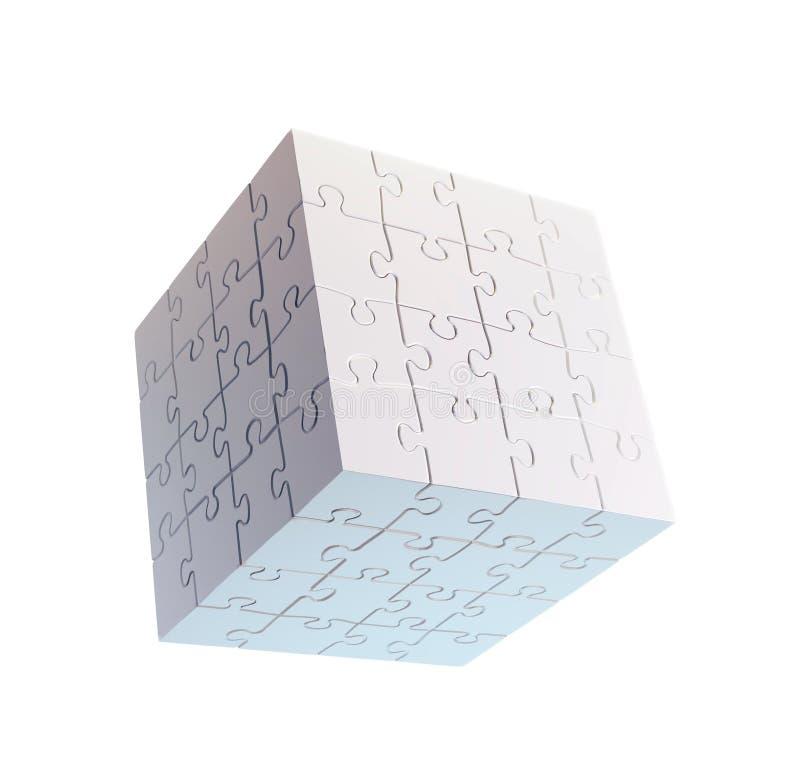 Enigma dado forma cubo ilustração stock