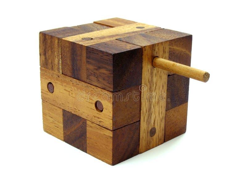 Enigma de madeira do cubo do enigma fotos de stock