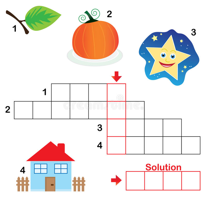 Enigma de palavras cruzadas para crianças, parte 3 ilustração royalty free