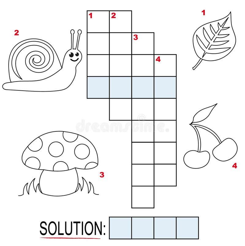 Enigma de palavras cruzadas para miúdos, parte 1 ilustração stock