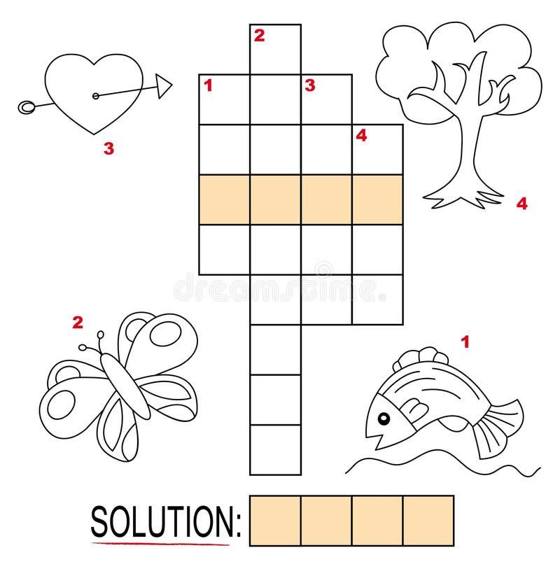 Enigma de palavras cruzadas para miúdos, parte 2 ilustração royalty free