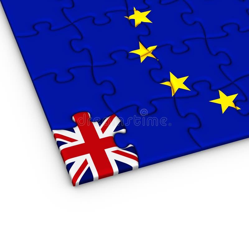 Enigma de serra de vaivém com a bandeira nacional de Grâ Bretanha e de Europa ilustração stock