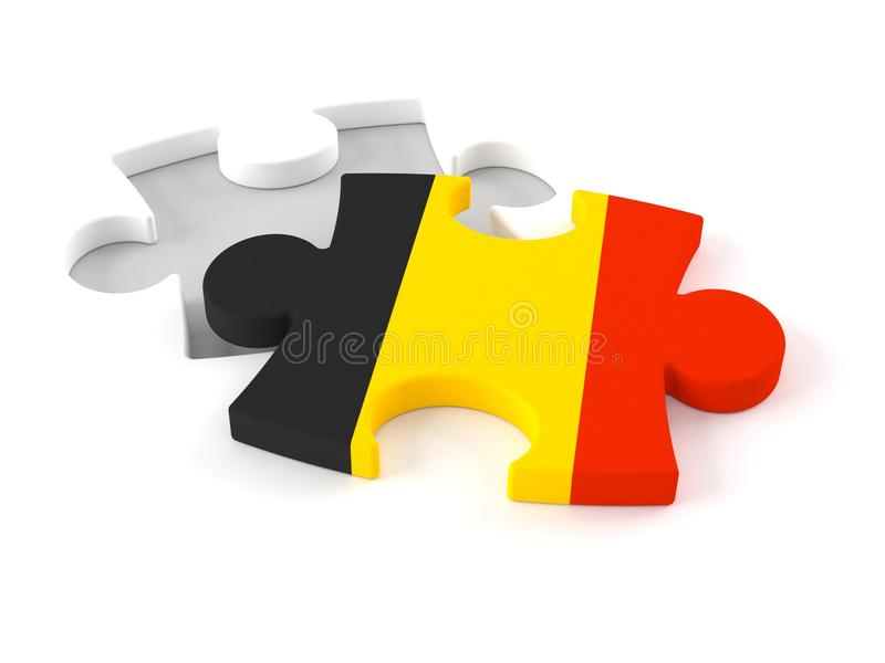 Enigma de serra de vaivém com bandeira belga ilustração royalty free