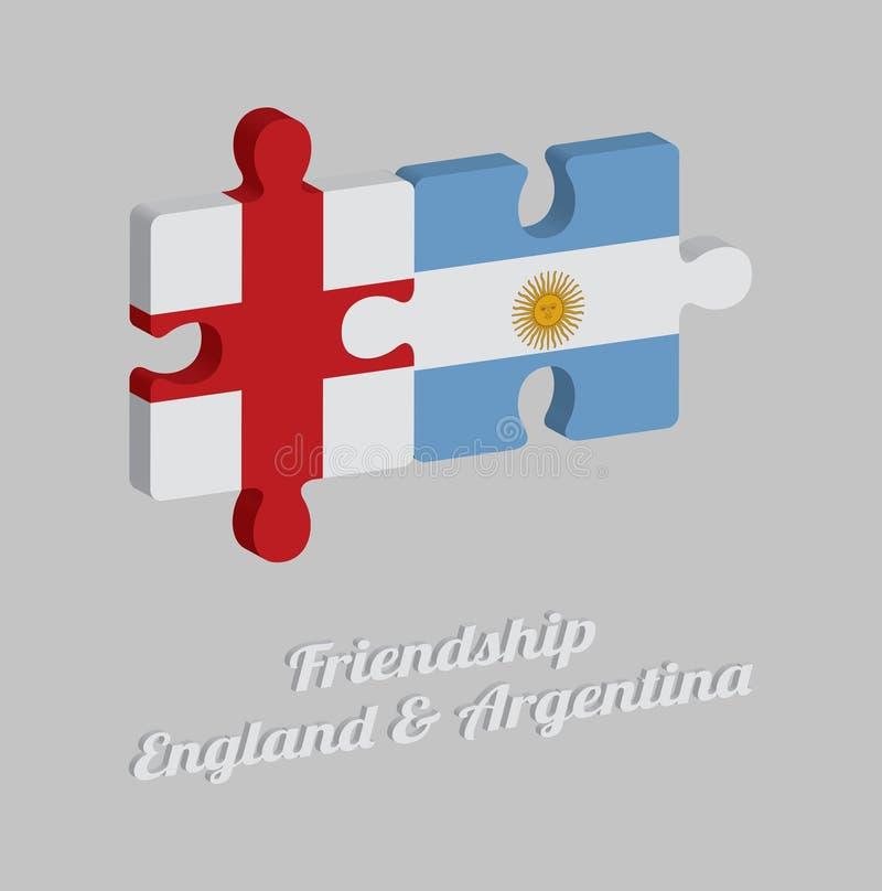 Enigma de serra de vaivém 3D da bandeira de Inglaterra e da bandeira de Argentina com texto: Amizade Inglaterra & Argentina Conce ilustração royalty free