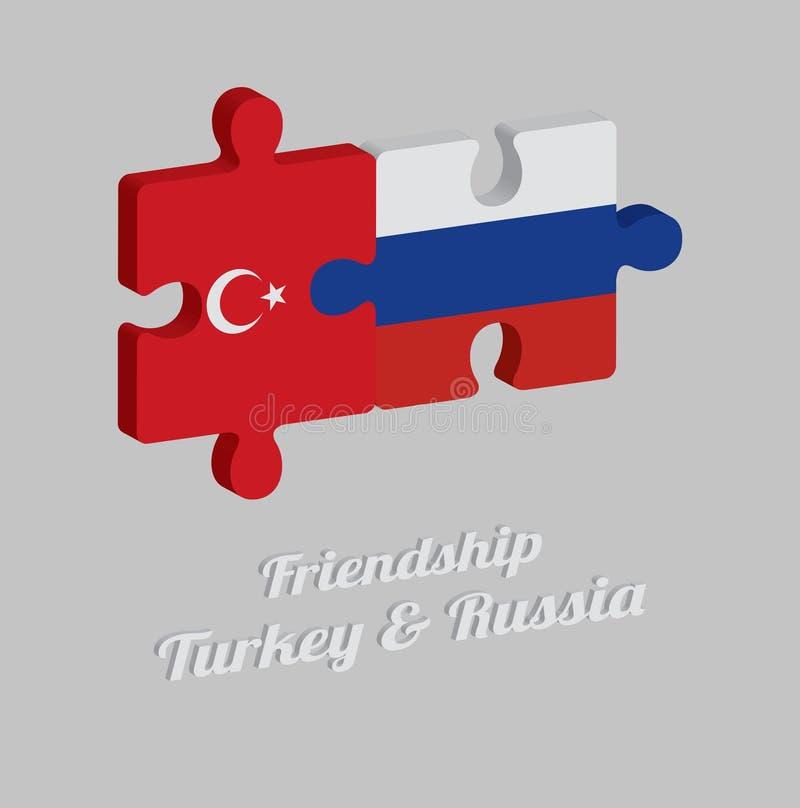 Enigma de serra de vaivém 3D da bandeira de Turquia e da bandeira de Rússia com texto: Amizade Turquia & Rússia Conceito de amigá ilustração stock