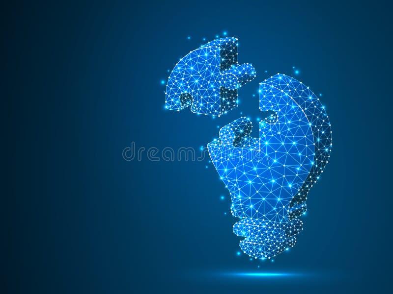 Enigma de serra de vaivém da ampola Ideia, eletricidade, conceito da inovação Baixo símbolo poli de néon da lâmpada do bulbo do w ilustração do vetor