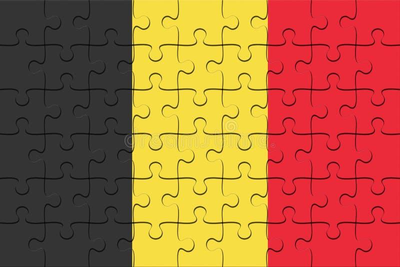 Enigma de serra de vaivém da bandeira de Bélgica, ilustração 3d ilustração stock