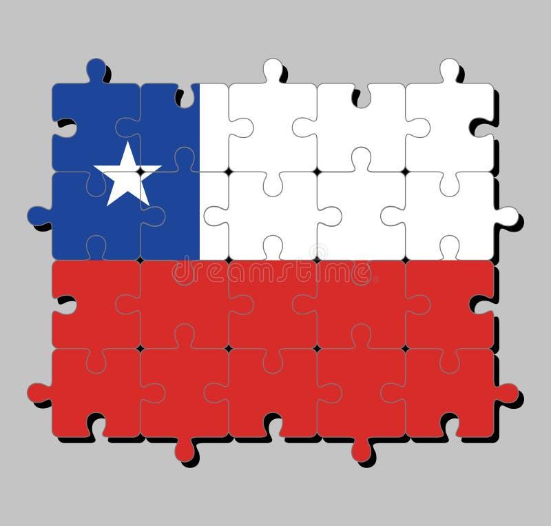 Enigma de serra de vaivém da bandeira do Chile em um bicolor horizontal de branco e de vermelho com o quadrado azul no canto supe ilustração do vetor