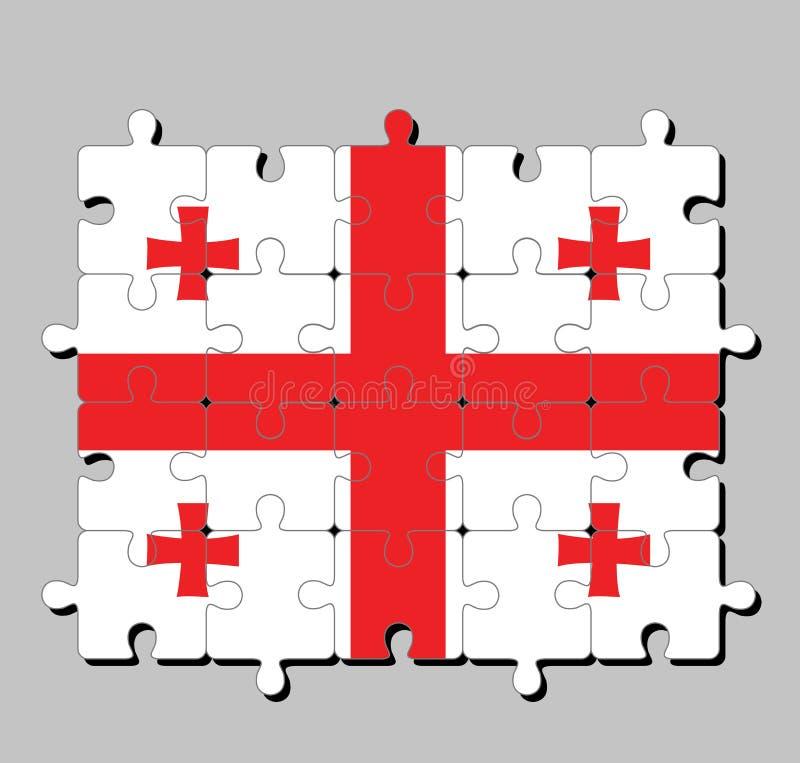 Enigma de serra de vaivém da bandeira de Geórgia no retângulo branco, com uma grande cruz vermelha quatro cruzes de Bolnur-Katskh ilustração do vetor