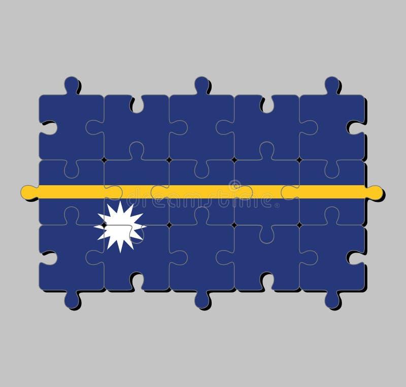 Enigma de serra de vaivém da bandeira de Nauru em um campo azul com a listra horizontal estreita amarela fina transversalmente e  ilustração royalty free
