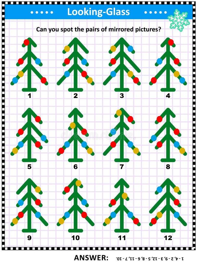 Enigma dell'immagine con le immagini rispecchiate degli alberi di Natale astratti illustrazione vettoriale