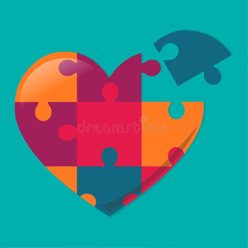 Enigma do coração para a ilustração do vetor do conceito do dia do autismo foto de stock royalty free