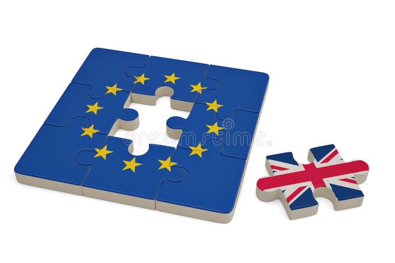 Enigma do Euro e uma parte do enigma com bandeira de Grâ Bretanha illu 3d ilustração do vetor