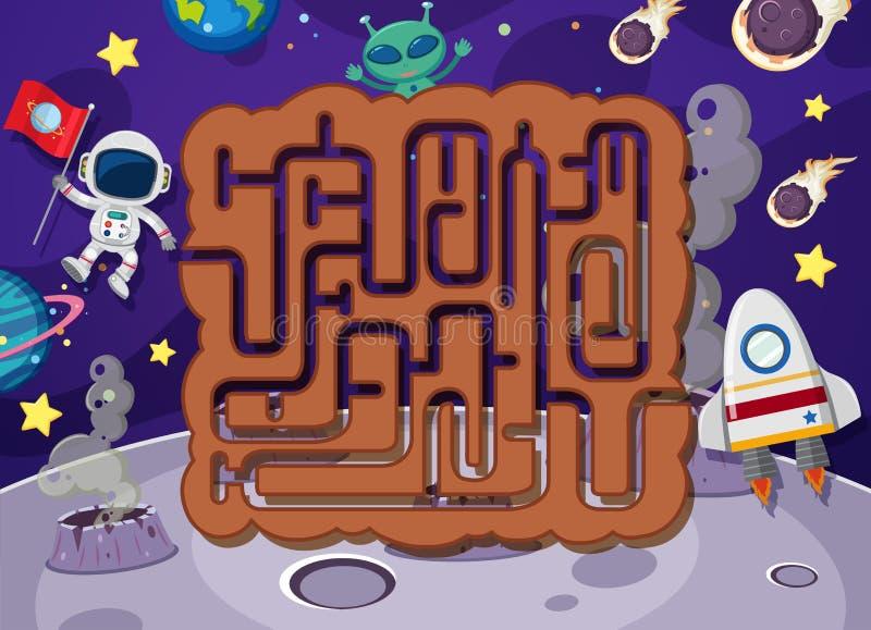 Enigma do labirinto no espaço ilustração do vetor