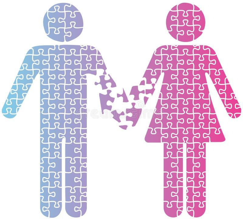 Enigma dos povos da separação do amor dos pares ilustração stock
