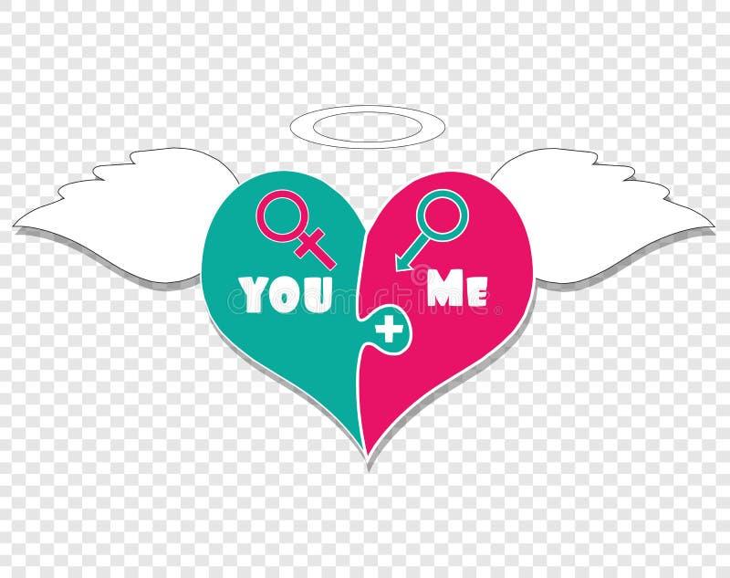 Enigma duas partes do coração Angel Wings, Nimbus acima ilustração do vetor