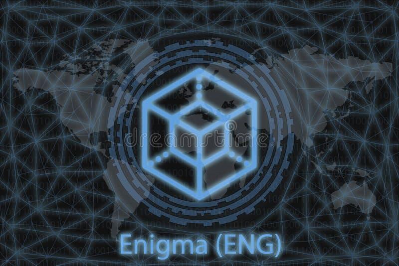 Enigma ENG Z ciemnym tłem i mapą świata Koncepcja graficzna dla projektu royalty ilustracja