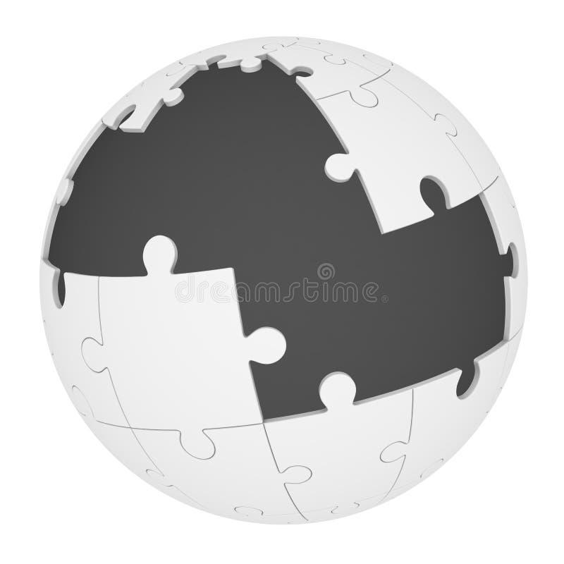 Enigma esf?rico com partes faltantes ilustração stock