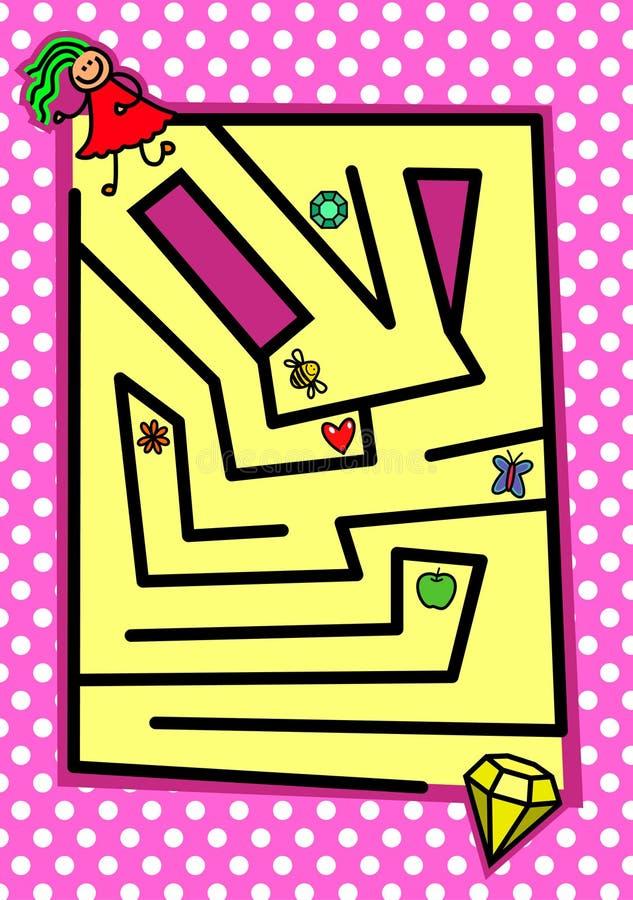 Enigma feminino Maze Game ilustração stock