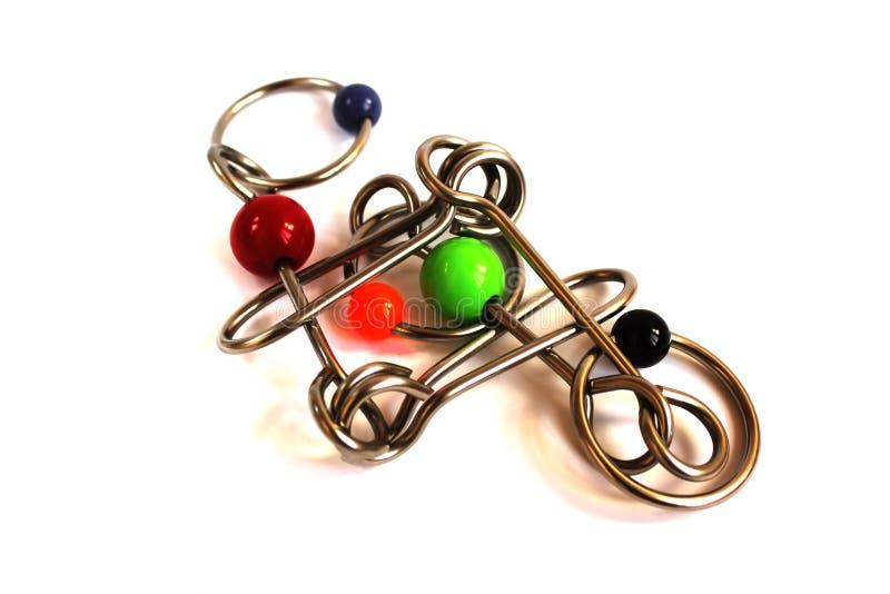 Enigma, fundo, branco, metal, isolado, brinquedo, aço, objeto, jogo, prata, metálica, crianças, modernas, molde, preto, close up, foto de stock
