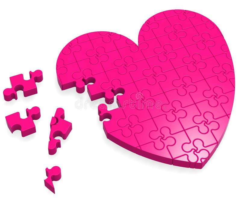 Enigma inacabado do coração que mostra o amor ilustração do vetor