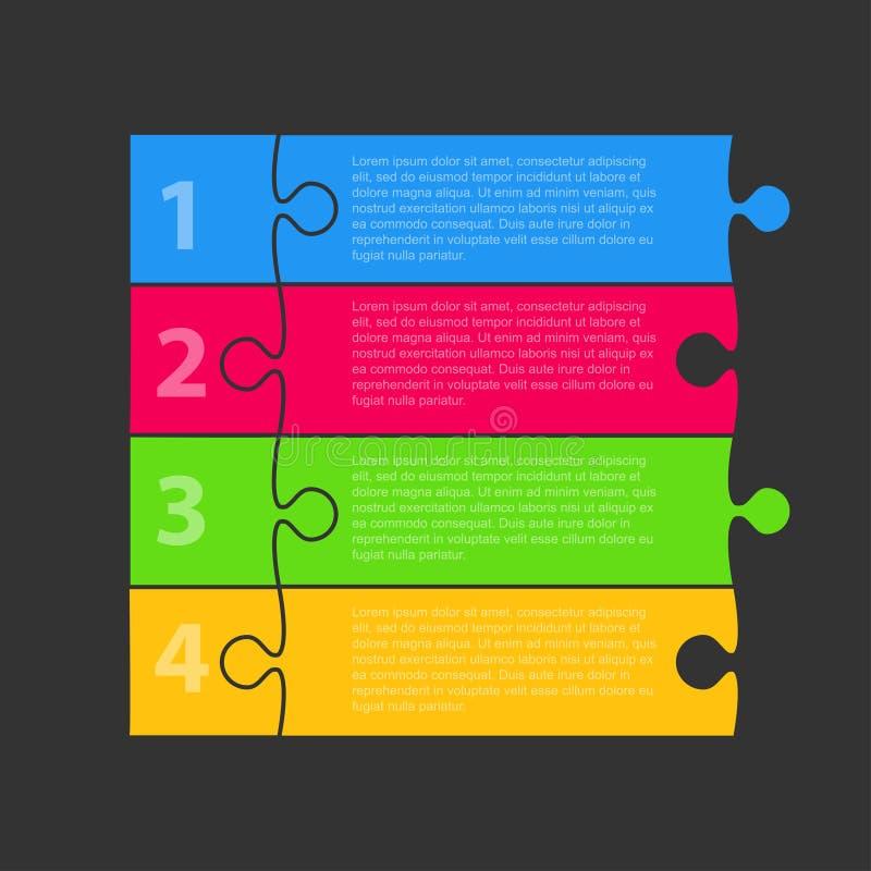 Enigma Infographic de quatro partes Enigma de quatro etapas ilustração do vetor