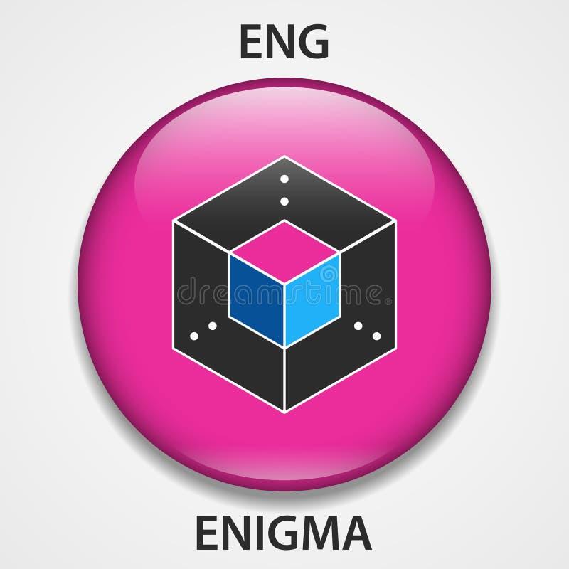 Enigma-Münze cryptocurrency blockchain Ikone Virtuelles elektronisches, Internet-Geld oder cryptocoin Symbol, Logo stock abbildung
