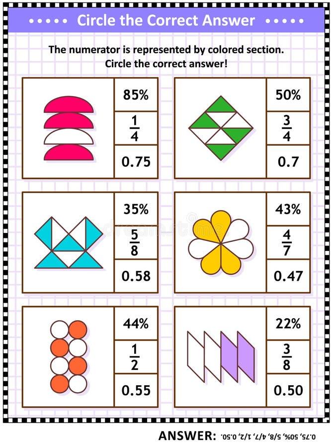 Enigma ou folha do treinamento de habilidades da matemática com frações visuais ilustração royalty free