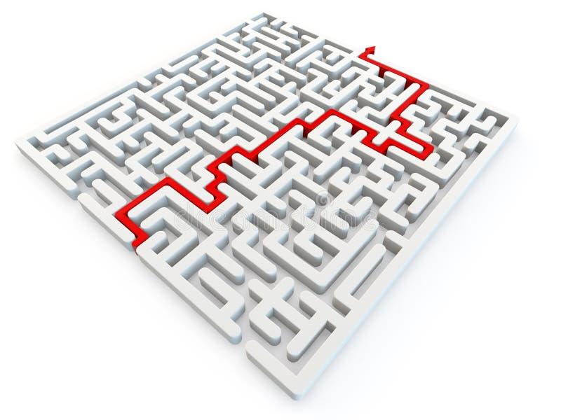 Enigma resolvido do labirinto foto de stock
