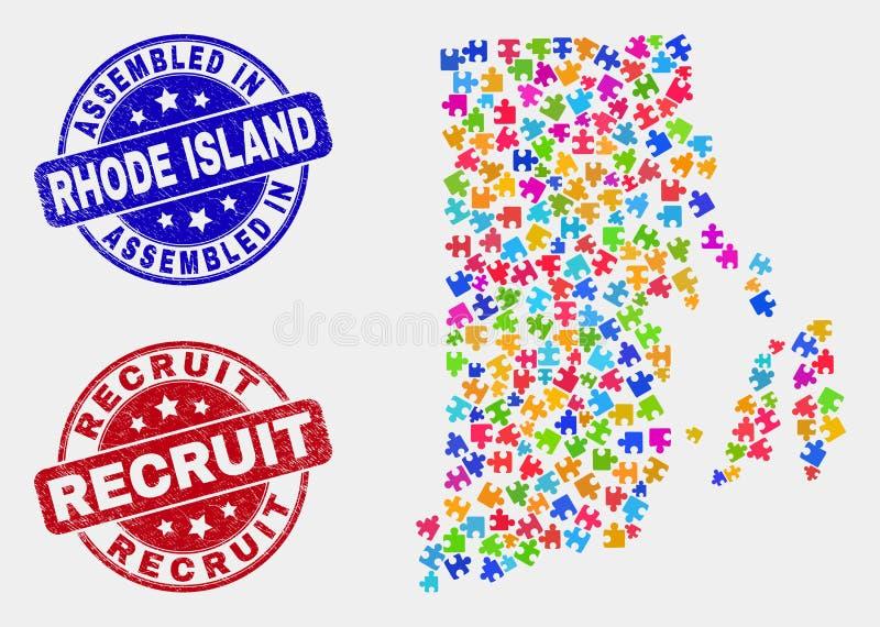 Enigma Rhode Island State Map e aflição montada e selos do recruta ilustração royalty free