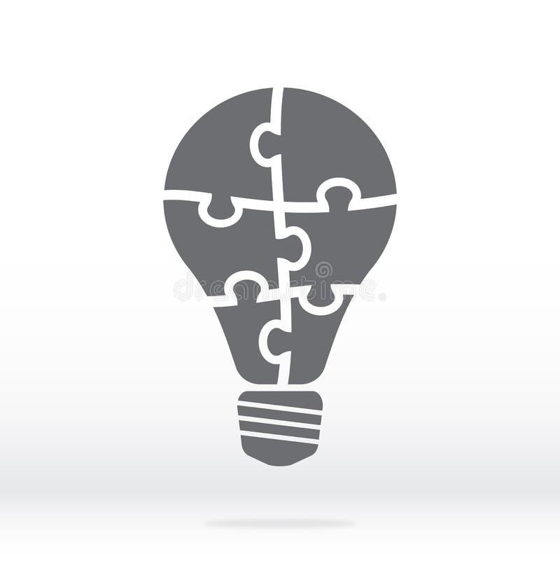 Enigma simples da ampola do ?cone no cinza Enigma simples do ?cone das seis partes no fundo cinzento ilustração stock