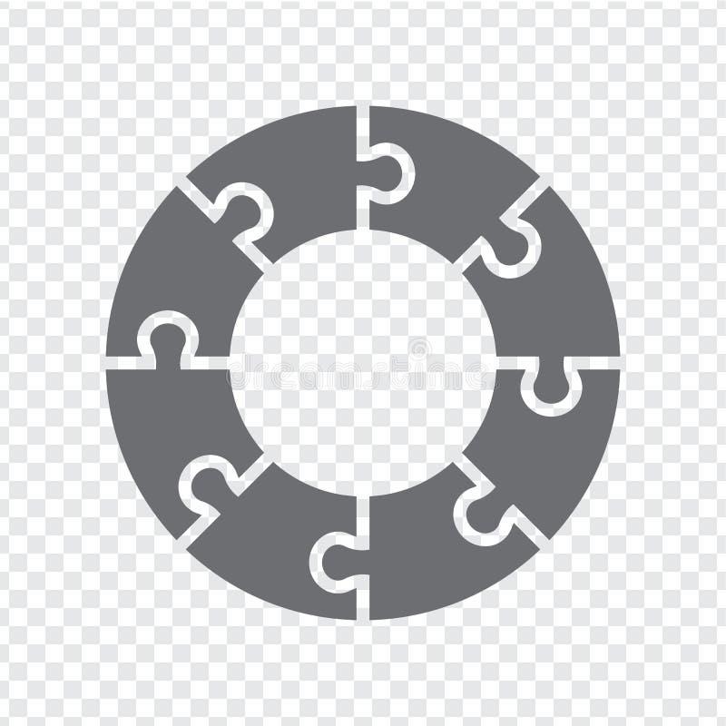 Enigma simples do círculo do ícone no cinza no fundo transparente Enigma simples do círculo do ícone dos oito elementos ilustração do vetor