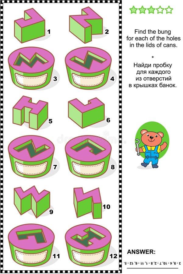 Enigma visual da matemática - combine batoques e furos ilustração stock